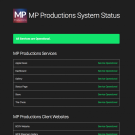 MP Productions Service Status Page Released